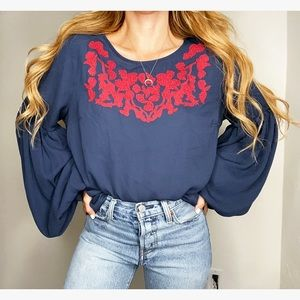Skies Are Blue Navy Floral Embroidered Blouse